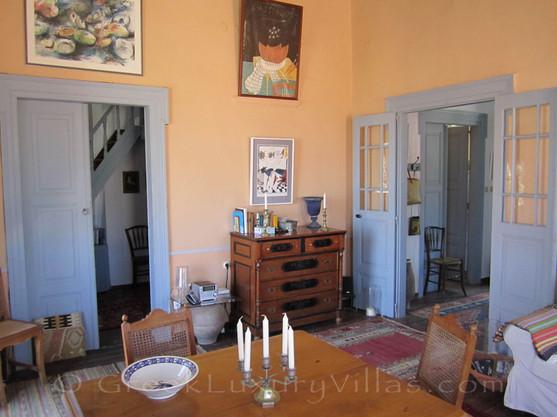 Classical style living room of traditional villa in Symi.