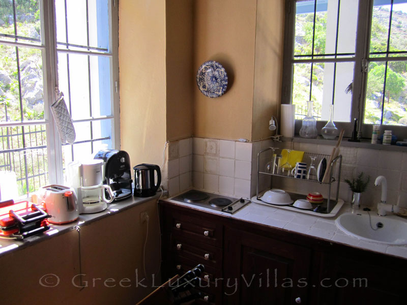 Kitchen of neoclassical villa on Symi.