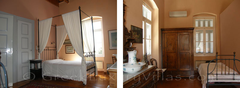 Bedroom of neoclassical villa for large groups in Syros