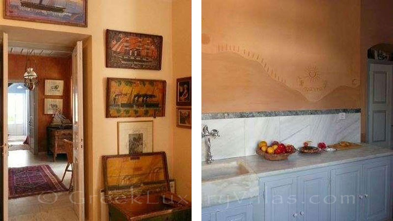 Traditional kitchen of villa for large groups in Syros
