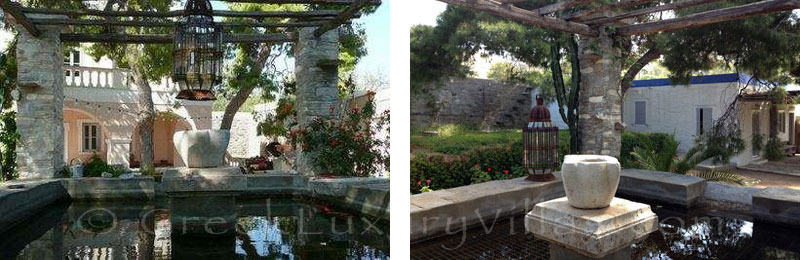 Exclusive garden of villa for family get-together in Syros