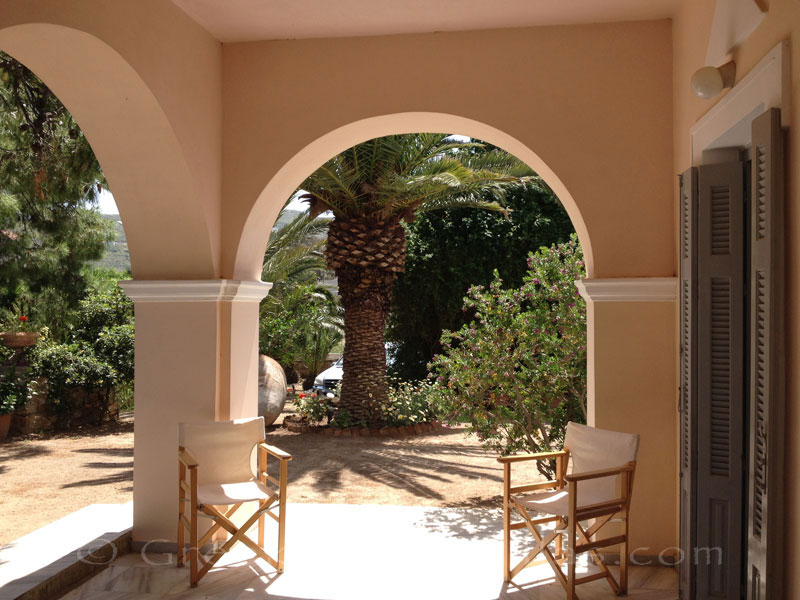 Outdoor of villa for large groups in Syros