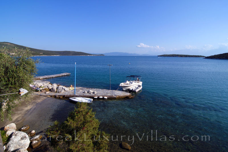 almyros exclusive seafront villa with private beach speed boat jetty
