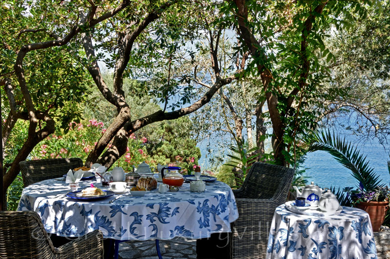 waterfront villa with private chef butler garden dining area sea view