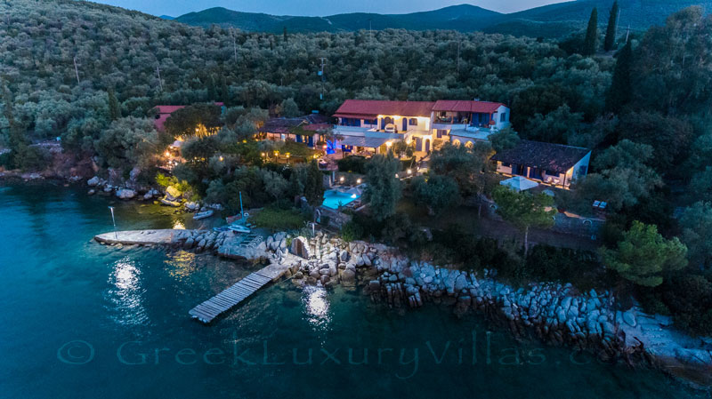 luxurious seafront villa with private beach boat chef butler at night