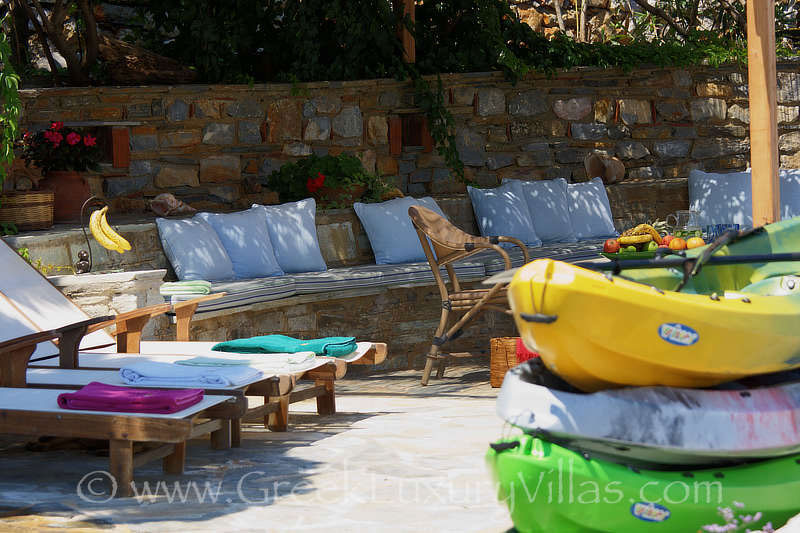 luxury seafront villa with private beach boat kayaks sunbeds