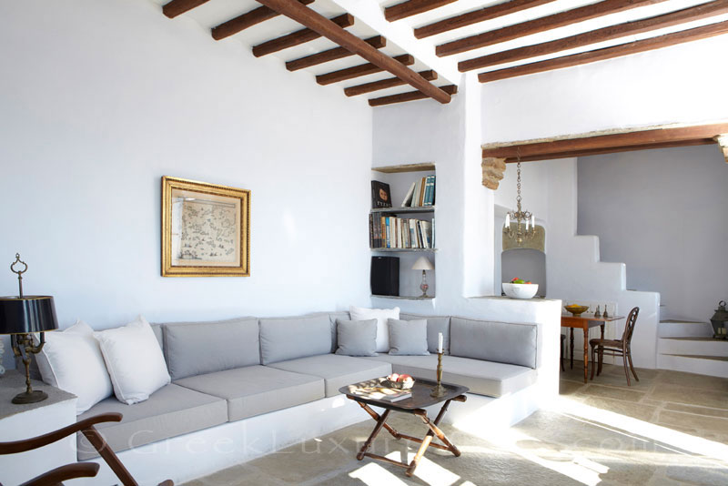 Living room of luxurious traditional house for two on Tinos