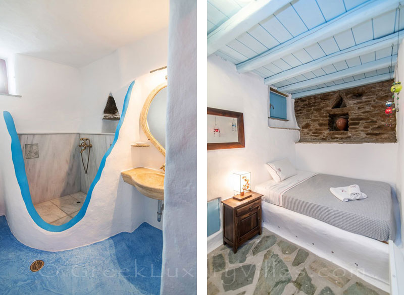 traditional villa on Tinos bedroom and bathroom