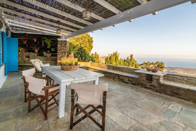 traditional villa on Tinos with sea view terrace