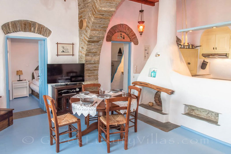 living room of luxurious villa on Tinos
