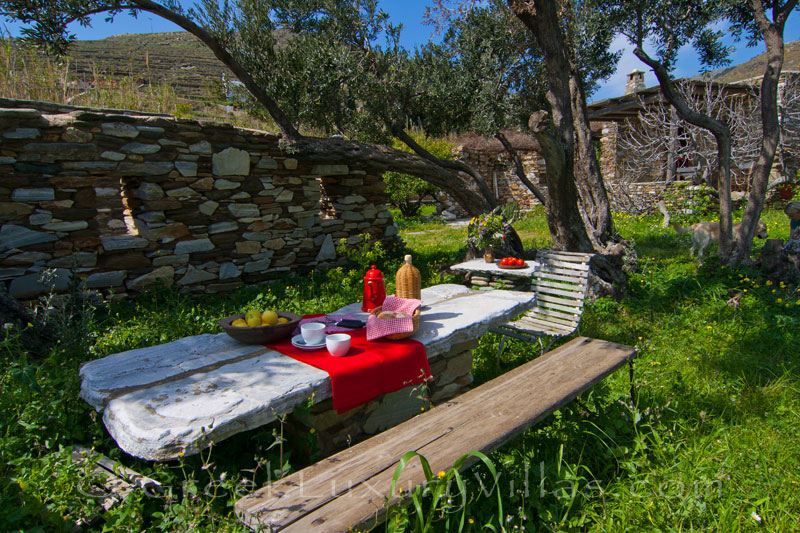 Tinos beach bungalow dining in nature and total tranquility