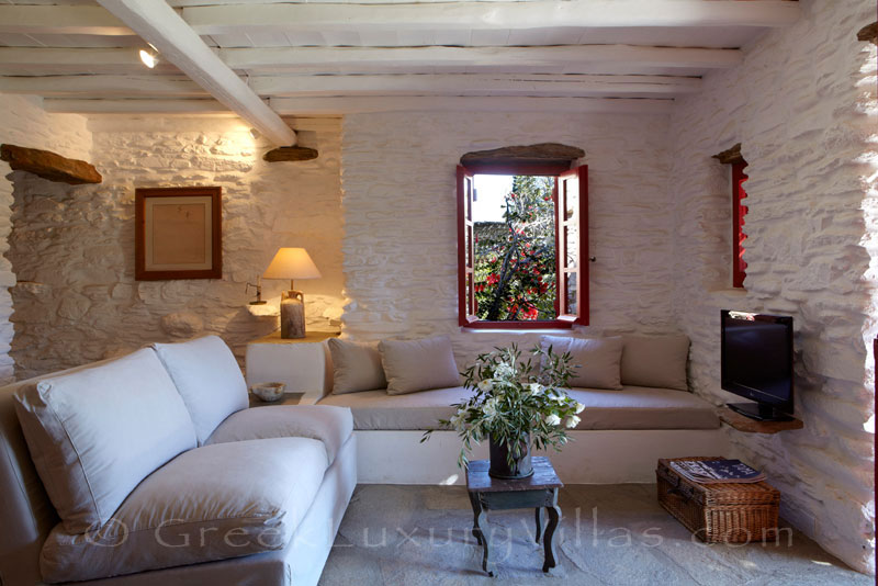 living room of Tinos beach bungalow