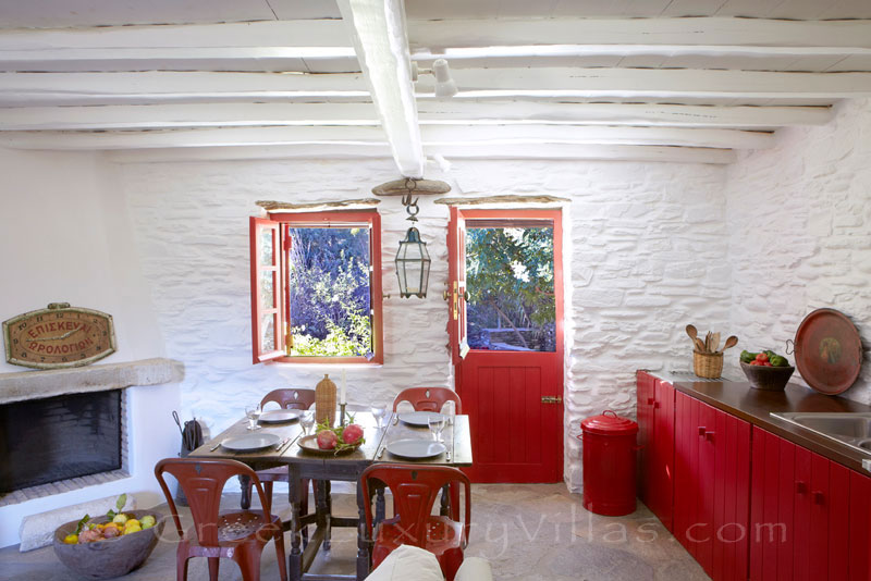 living room and kitchen of beach bungalow on Tinos