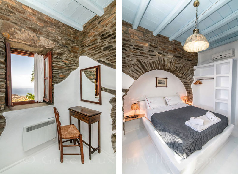 traditional villa for four on Tinos sea view bedroom