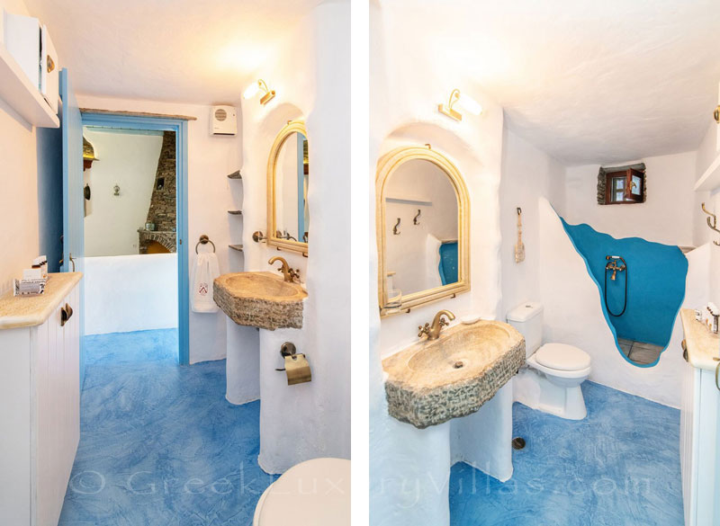 traditional villa for four on Tinos bathroom