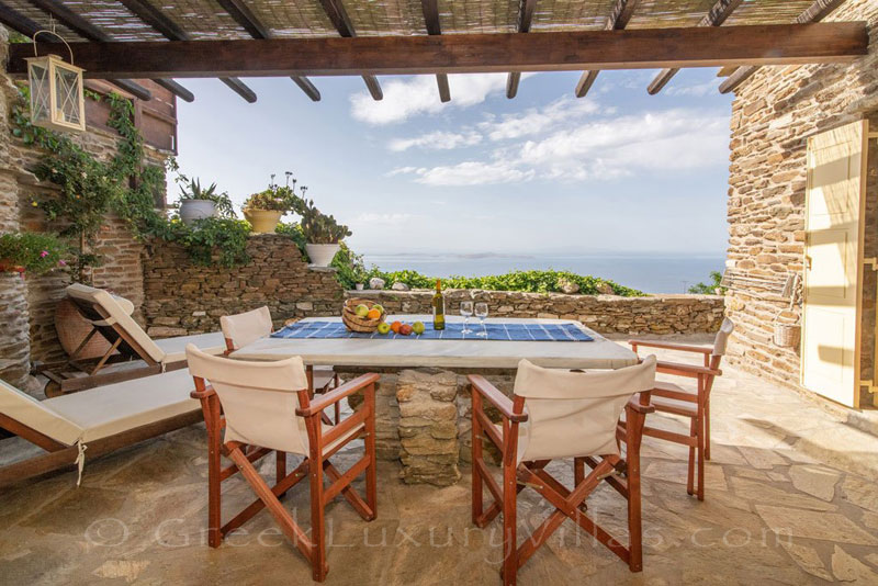 traditional villa for four on Tinos amazing sea view veranda