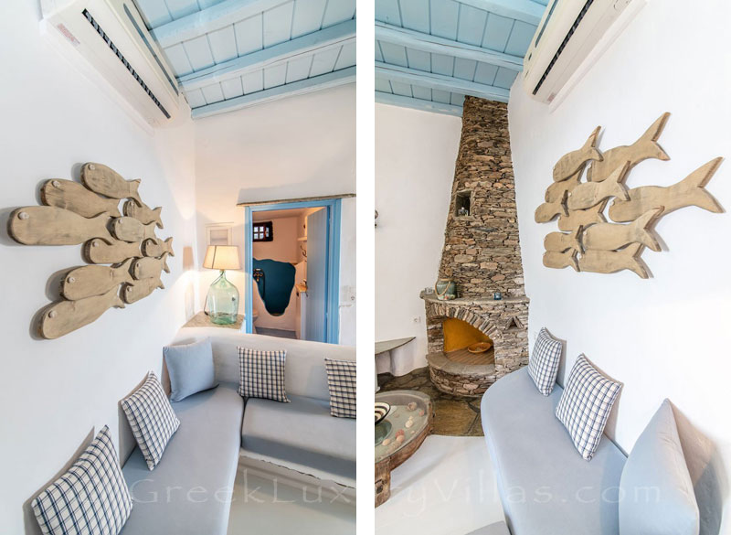 traditional villa for four on Tinos stylish living room