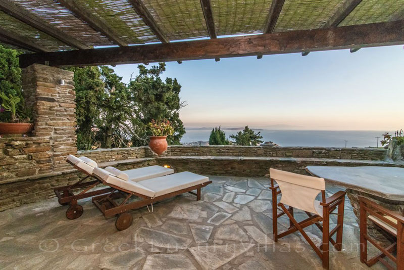 Tinos villa with sea view terrace