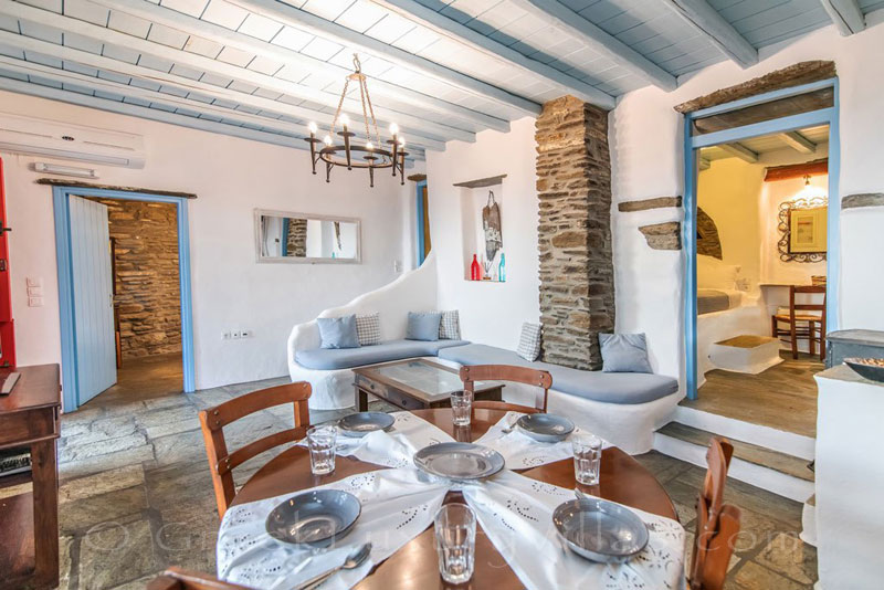 Tinos traditional villa with open plan living room