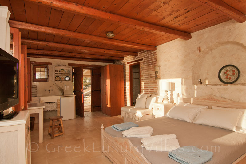 The bedroom of the seafront villa in Zakynthos