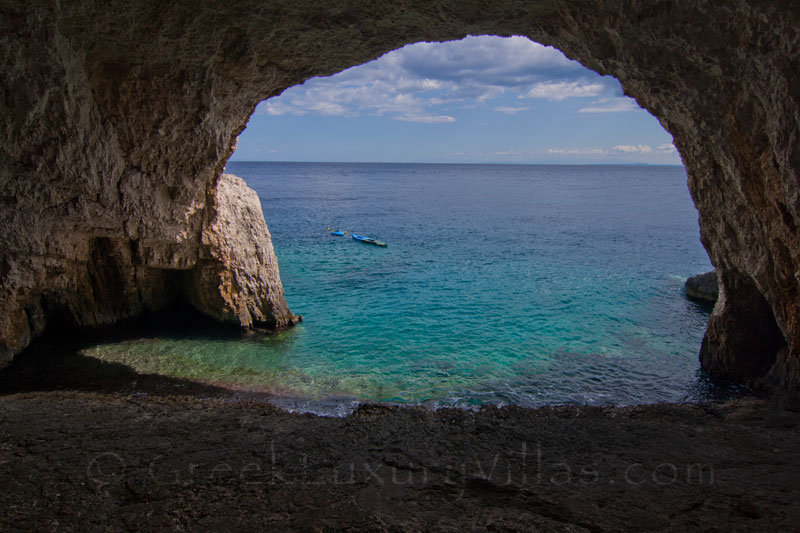The cave in front of the seafront villa in Zakynthos