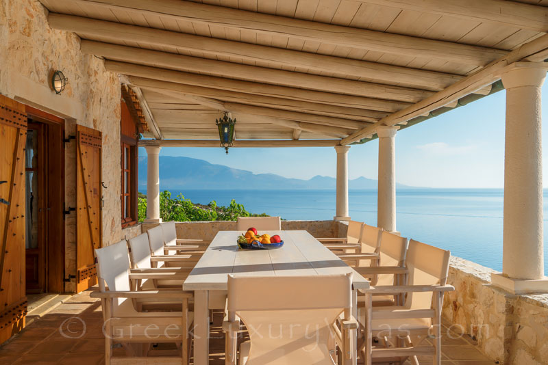 The sea view from the veranda of a villa in Zakynthos