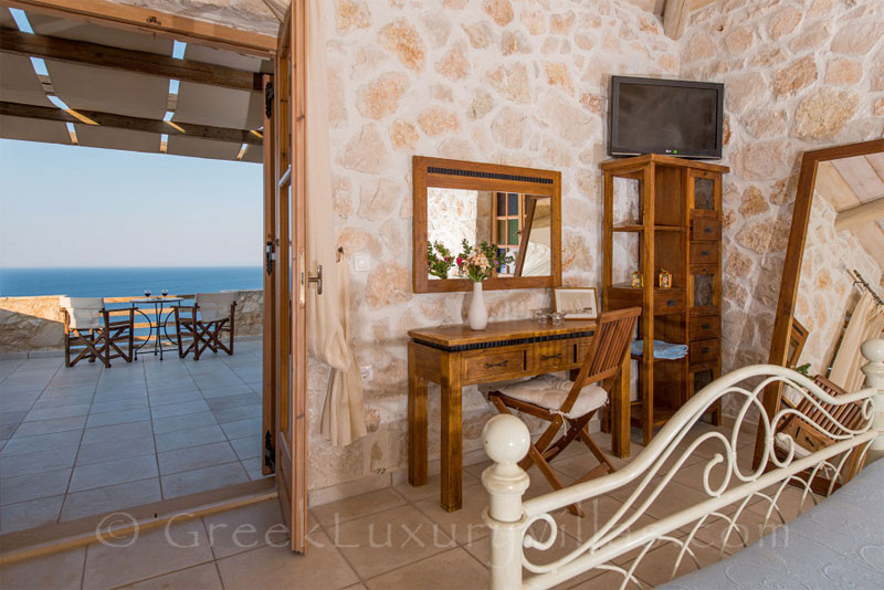 Seaview from bedroom in villa with pool in Zakynthos