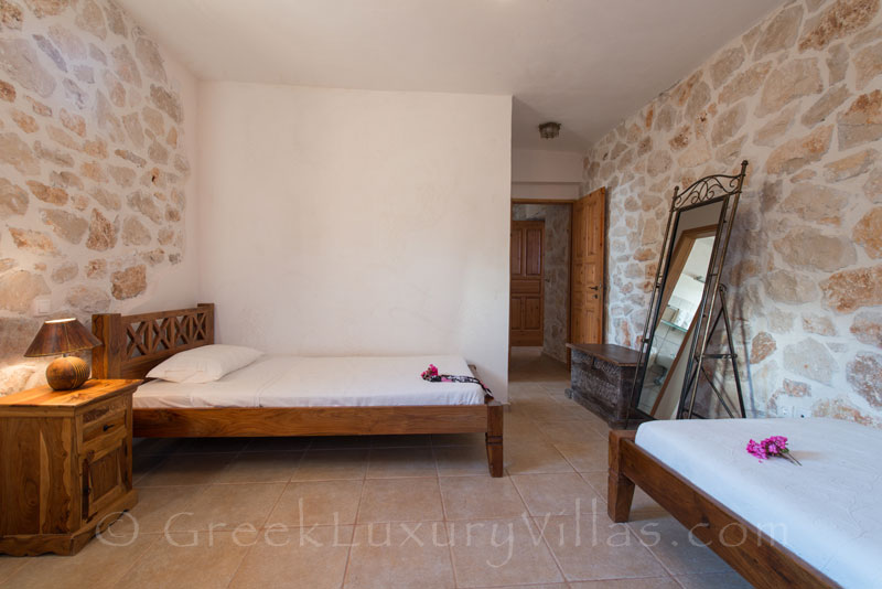 Bedroom of villa with seaview and pool in Zante