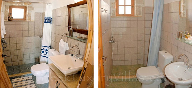 Bathroom of villa with seaview and pool in Zakynthos