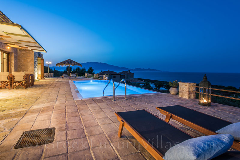 Seaview from a two bedroom villa with a pool in Zakynthos