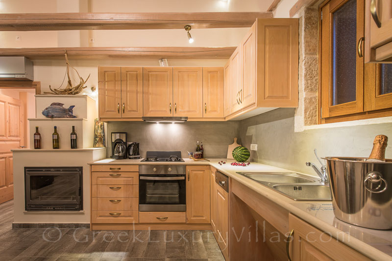 The kitchen of a two bedroom villa with a pool in Zakynthos