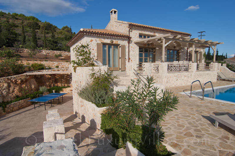 A four bedroom of a seaview villa with a pool in Zakynthos