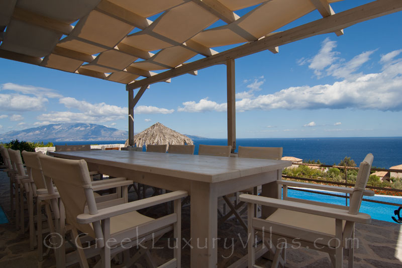 A four bedroom seafront villa with a pool in Zakynthos