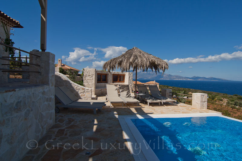 The seaview from a four bedroom villa with a pool