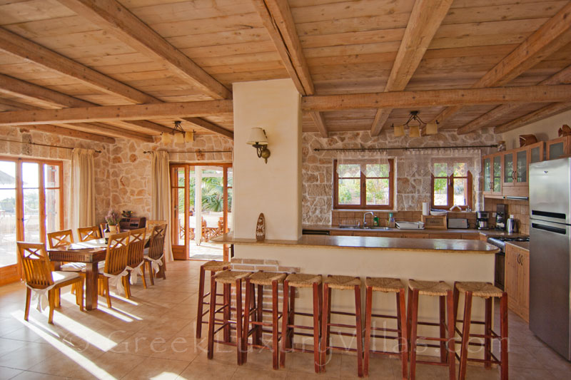 Open plan kitchen of a traditional villa